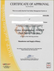 HACCP Certificate_Vietnam honey